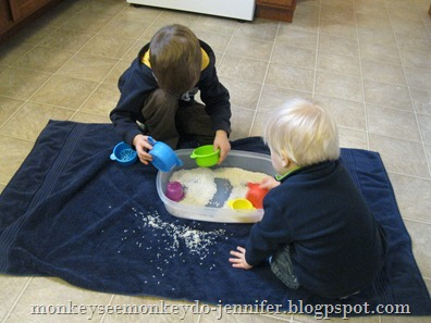 children playing with rice