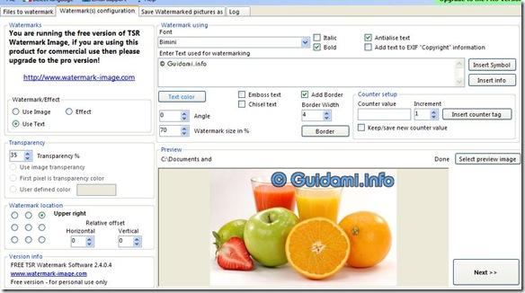 TSR Watermark Image Watermark(s) configuration