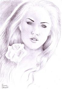 Portret de fata desen in creion