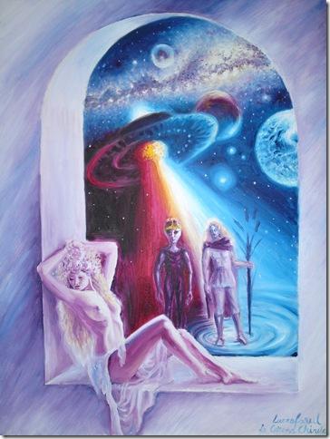 Luceafarul pictura ulei pe panza inspirata din poezia lui Mihai Eminescu