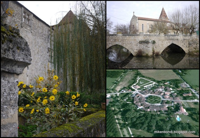 Château Fources - ogive-arched bridge - aerial view