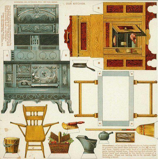 Recortables de muebles de papel for Muebles de cocina para montar