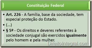 Constituição Federal - Art. 226,§5º - Igualdade entre marido e mulher
