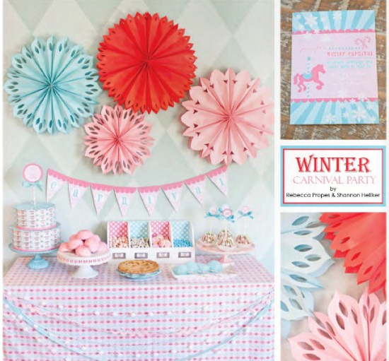 Winter carnival party planning ideas with coral, aqua, and pastel colors from The Party Dress magazine, holiday issue