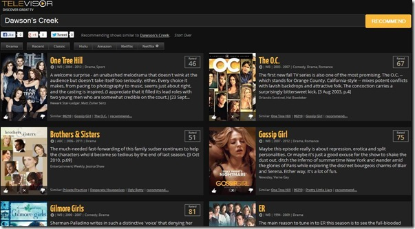 Televisor.com risultati serie TV simili trovate