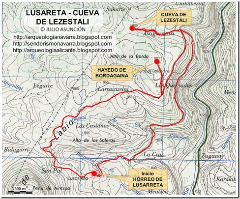 Mapa Lusarreta - cueva de Lezestali