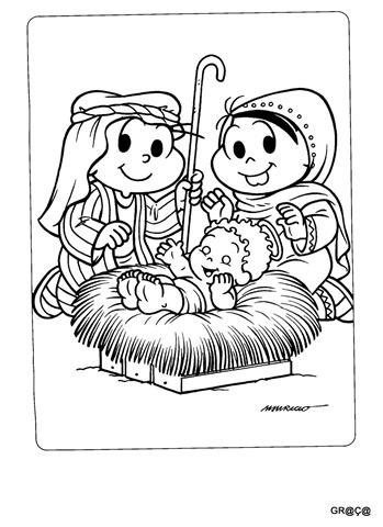 cebolinha e monica-menino jesus-natal-desenho para imprimir e colorir natal,
