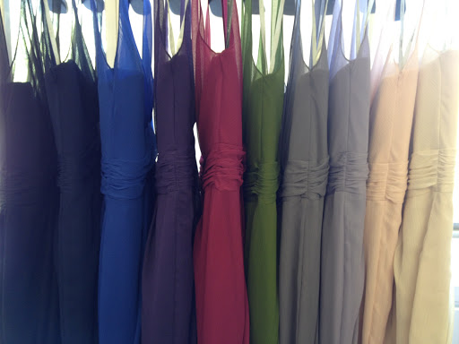 A rainbow of bridesmaid dresses.
