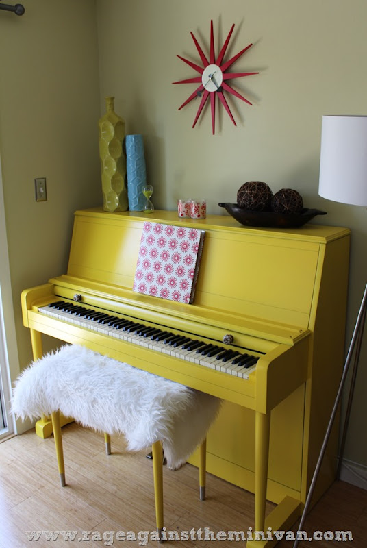 painted yellow piano