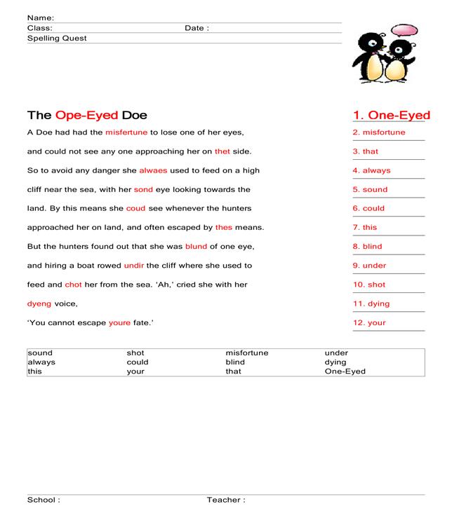 The One-Eyed Doe : Spelling Worksheet