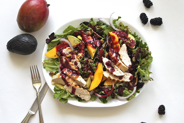 Grilled Chicken Salad with Mango, Avocado + Blackberry Vinaigrette