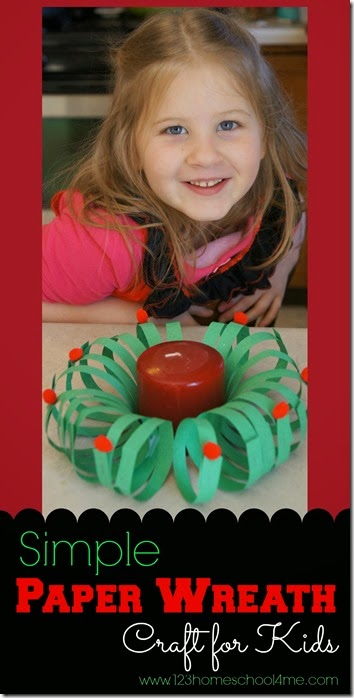 Paper Wreath Christmas Craft for Kids - This is such a fun, simple to make Christmas craft. I can see Preschool, Kindergarten and early elementary kids really having fun with this one!