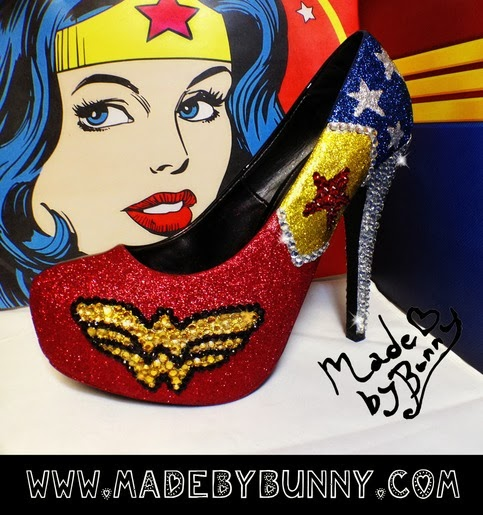 Wonder Woman Glitter Heels from Made By Bunny