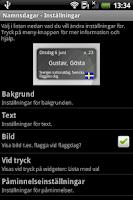 Screenshot of Namnsdagar