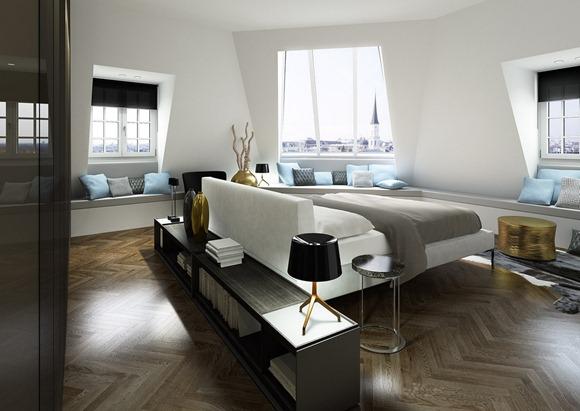 Dormitorio moderno, en azul gris y blanco