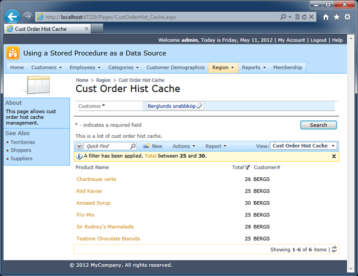 The 'Search' action is rendered in a form view of an 'inline' confirmation data controller
