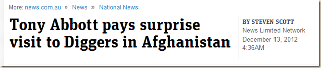 Tony Abbott pays surprise visit to Diggers in Afghanistan - News.com.au