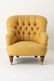 Mustard yellow gives a great punch of color to this comfortable chair.