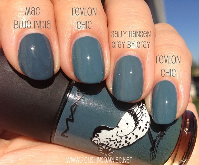 MAC Blue India, Revlon Chic, Sally Hansen Gray by Gray