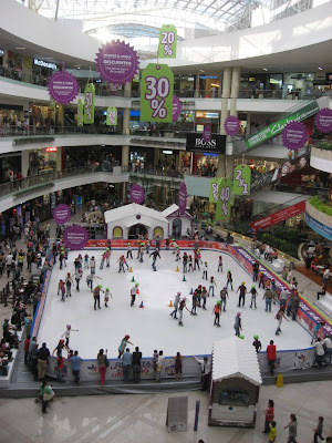 some fancy mall in Medellin.. with an ice skate rink?!