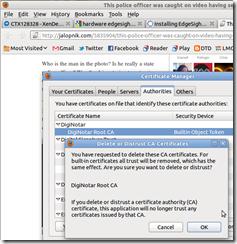 Firefox delete diginotar