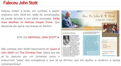 Post do Mural na Net sobre o falecimento de John Stott