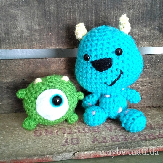 Crochet Mike and Sully from Monsters Inc