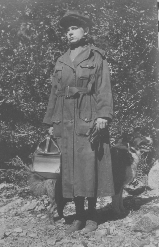 Dorothy Putnam in overcoat.