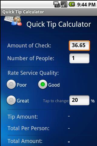 Quick Tip Calculator