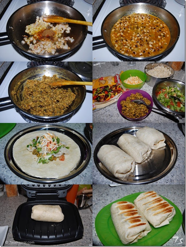 Grilled bean burrito process