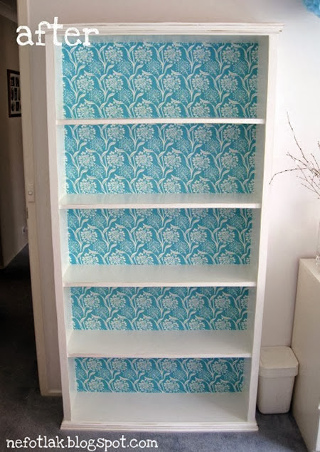 Before After - Mod Podge Book Case Makeover