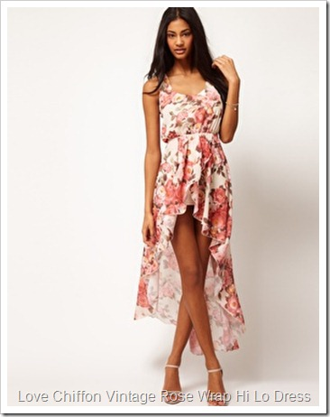 image1xlLove Chiffon Vintage Rose Wrap Hi Lo Dress