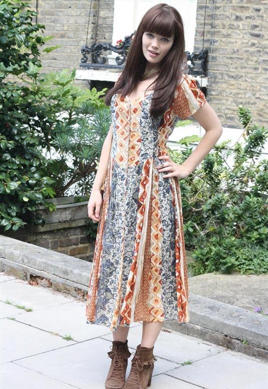 80's Aztec Print Tie Side Dress, £25, Bohemian Rose Vintage