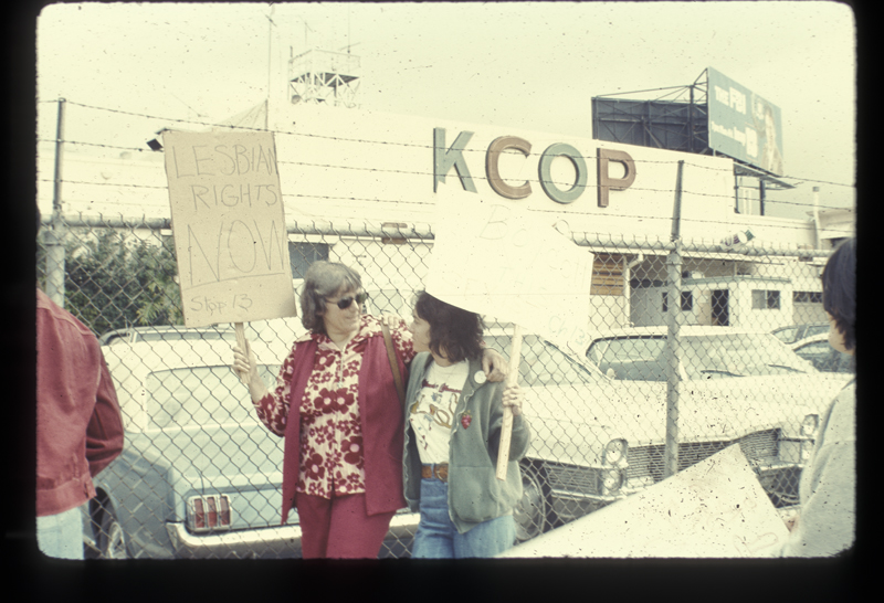 Mary Ann Ambroino (left) and Delene Bivolcic at Mort Sahl Show picket at the KCOP studio. March 21, 1975
