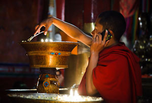 Tibetan Monk with Cell Phone