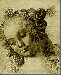 'Head of a Woman', c1475. This is one of several drawings, including one on the reverse of this sheet, for the head of a nymph or Venus. Black chalk has been used softly to suggest the gentle shadows on her cheeks, while white chalk heightens the fall of light. Verrocchio was a sculptor as well as a painter, and his feeling for three-dimensional form is apparent here in the careful shading that creates a sense of volume. Her hair is thin and wispy and is drawn in rapid, thin strokes. When not in elaborate braided patterns and knots, it falls in curls over her shoulders.  PD, 1895-9-15-785 (recto)