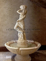 "Lorelei In Valencia Fountain with Basin and Pedestal.  Overall: H72"" x Dia 48"".  Statue: H50"" x 18"" Basin: D48"" x H12"" Pedestal: D22"" x H10"".  Self-contained with pump to recirculate below statue."