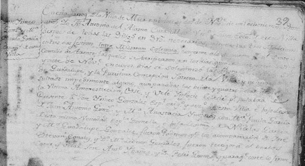 Jose Yrineo Gonzalez and Maria Paula Garcia, Familysearch, Mier, Marriages, 1812 PG 1442.jpg