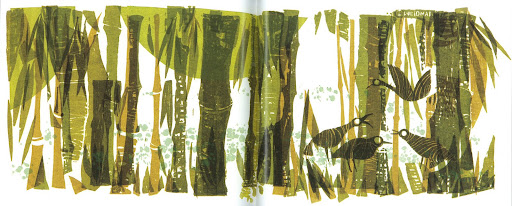 Weidman captures the angularity of this bamboo forest. Bamboo 29X11 Serigraph 1974.