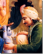 Nanda Maharaja with Krishna