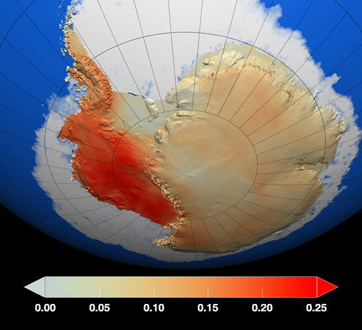 Red represents areas where temperatures have increased the most during the last 50 years, particularly in West Antarctica, while dark blue represents areas with a lesser degree of warming. Temperature changes are measured in degrees Celsius. Photo: NASA / GSFC Scientific Visualization Studio