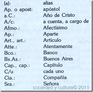 ejemplo de abreviaturas