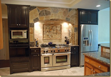 KitchenAid range with stone arch