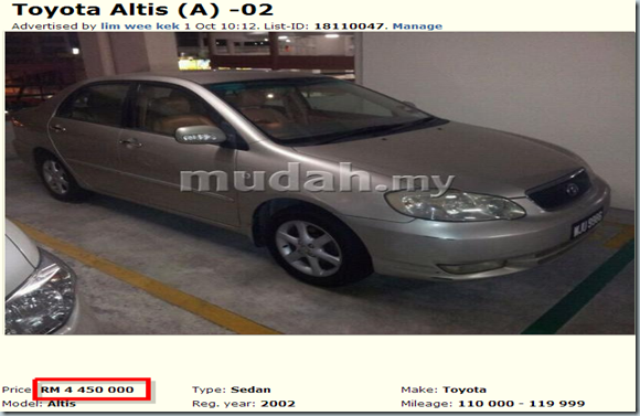 Toyota Altis  A  - Cars for sale Kuala Lumpur - Mudah.my-132848