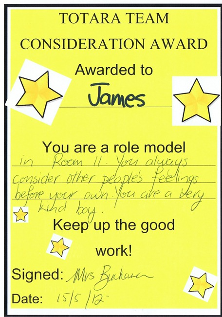 James Certificate