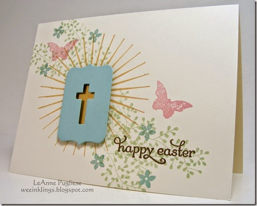LeAnne Pugliese WeeInklings Gold Cross Easter Card Stampin Up