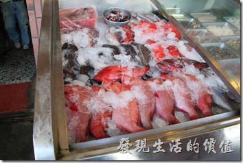 台東富岡漁港活海產。新鮮的海產就放在店門口,用碎冰覆蓋著保鮮,讓我想起我以前有幫人家打過工,專門用碎冰塊覆蓋漁獲。