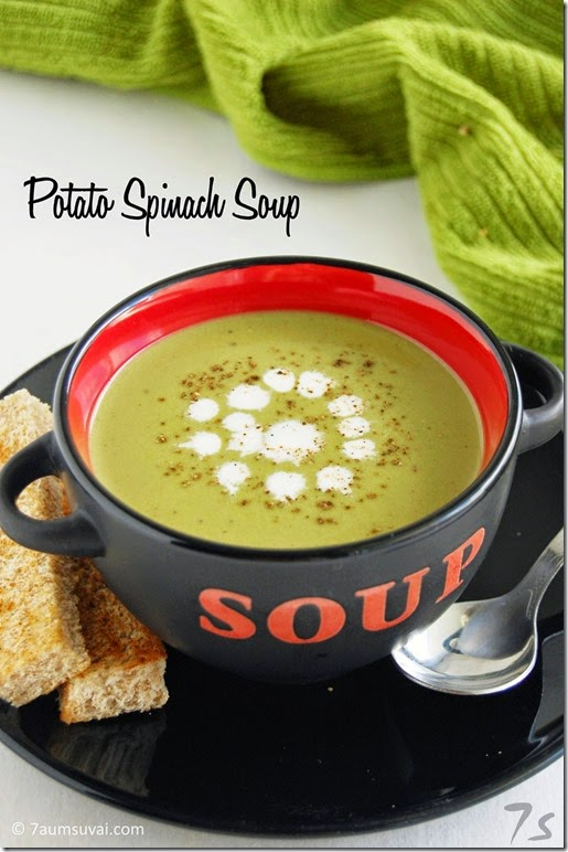 Creamy potato spinach soup