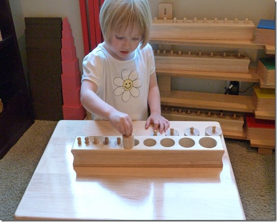 Montessori Knobbed Cylinders at Homeschool Mo 1