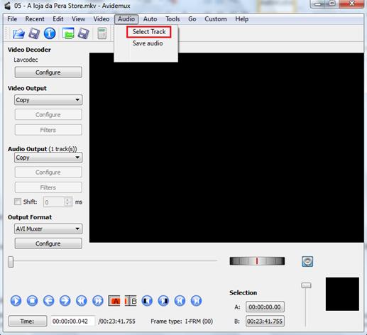 Clique em Select Track - Avidemux